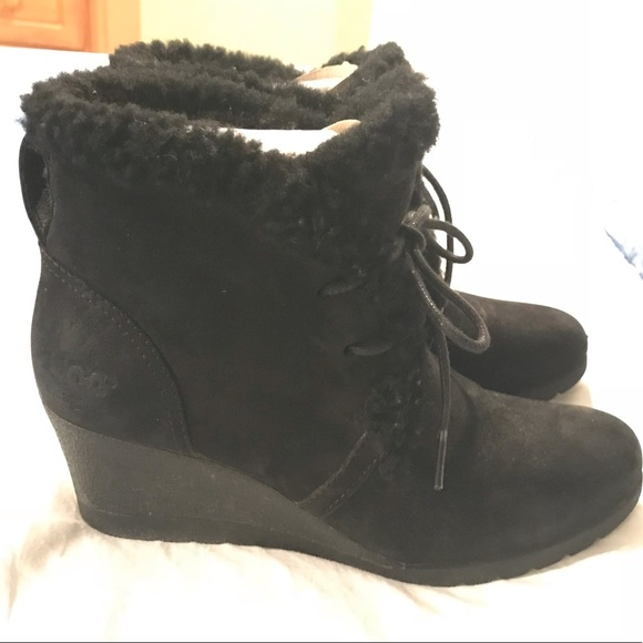 a1388a34fb6 Ugg Jeovana lace up bootie. Wedge heal. Size 6.